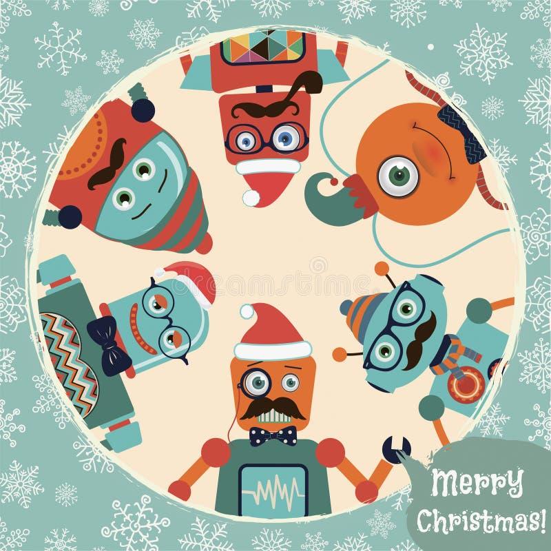 Illustrazione della cartolina di Natale dei robot dei pantaloni a vita bassa di vettore retro royalty illustrazione gratis
