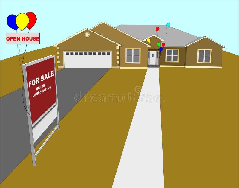 Illustrazione della casa aperta immagine stock libera da diritti