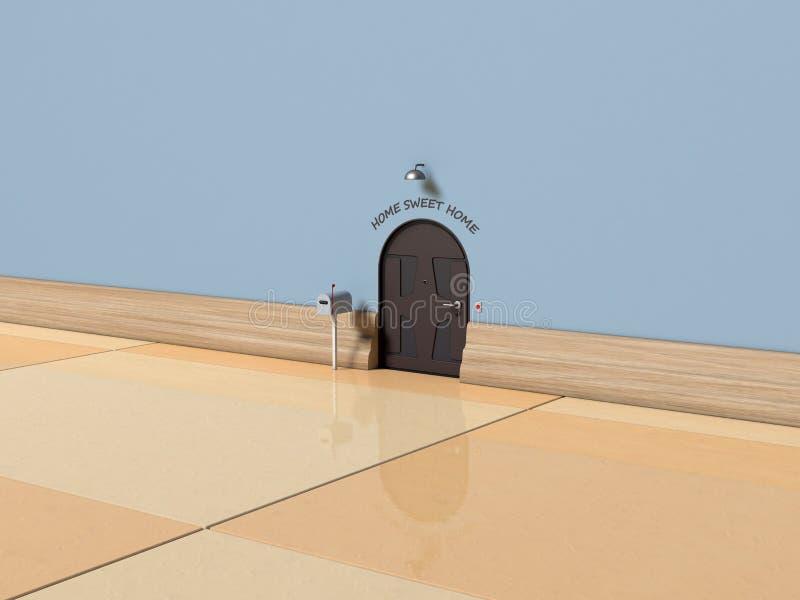 illustrazione della casa del topo 3d con testo fotografia stock libera da diritti