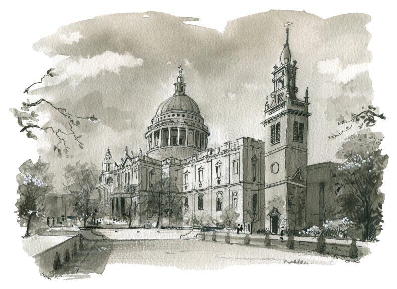 Illustrazione della cattedrale della st Pauls illustrazione di stock