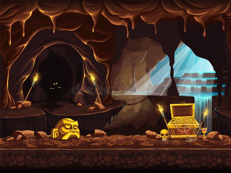 Illustrazione della caverna del tesoro con una cascata e un petto illustrazione vettoriale