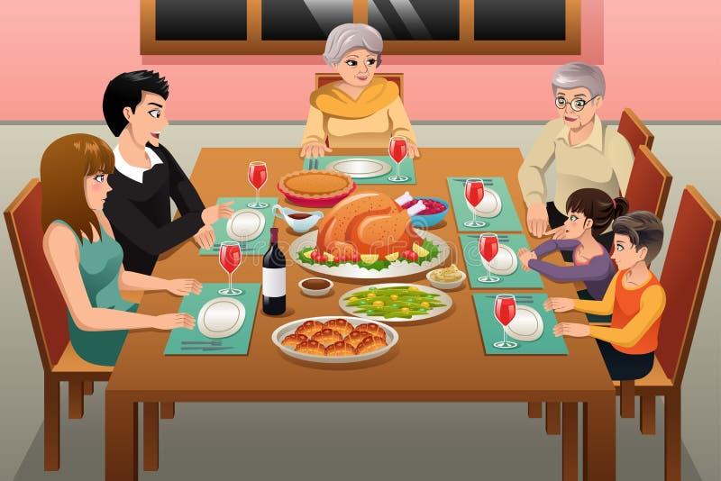 Illustrazione della cena della famiglia di ringraziamento illustrazione vettoriale