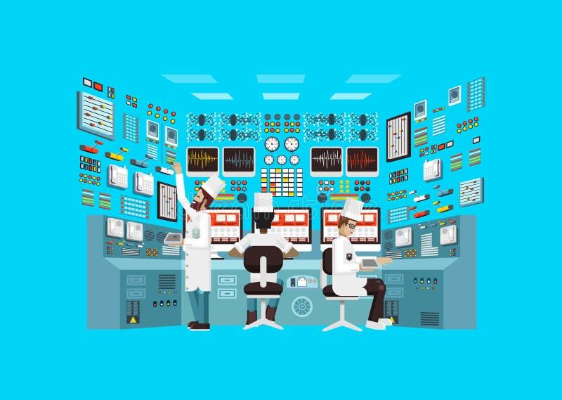 Illustrazione della centrale atomica di architettura della facciata nello stile piano illustrazione di stock