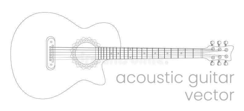 Illustrazione della chitarra acustica È un contenuto reale di musica soul Linea schizzo di vettore illustrazione di stock