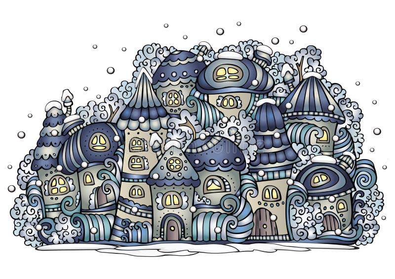 Illustrazione della città del disegno di favola di vettore di fantasia di inverno illustrazione vettoriale