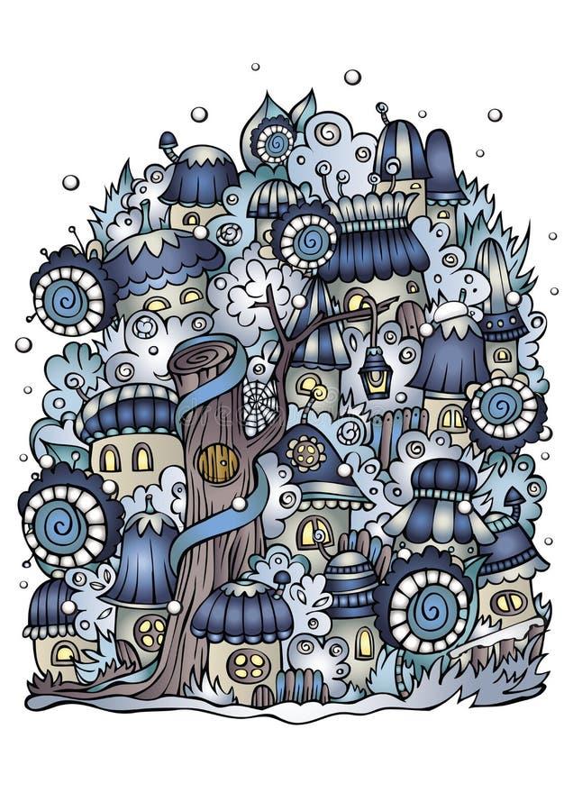 Illustrazione della città del disegno di favola di vettore di fantasia di inverno royalty illustrazione gratis
