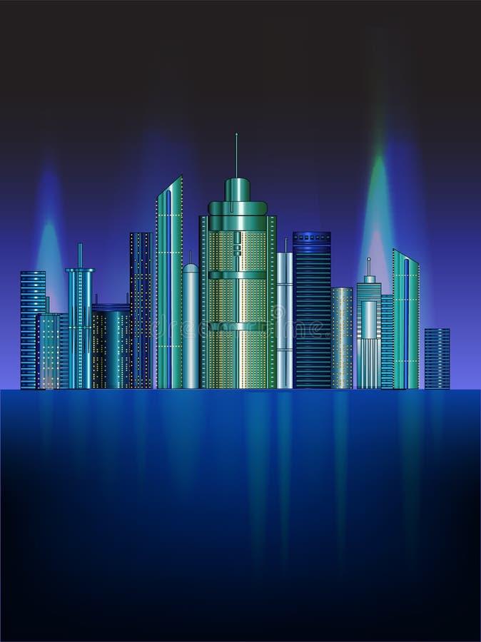 Illustrazione della città di notte di vettore con incandescenza al neon e colori vivi fotografie stock libere da diritti