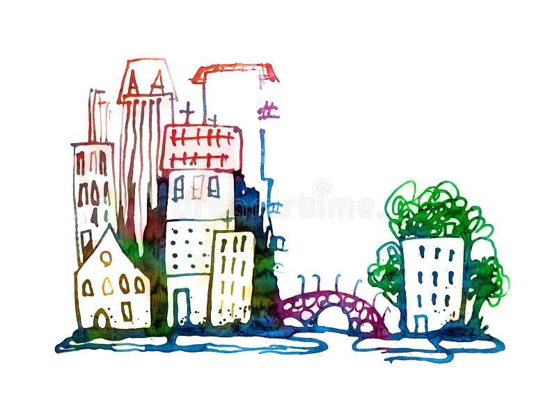 Illustrazione della città fatta degli effetti acquerelli, della tavolozza e delle spazzole Raccolta strutturata acquerella immagine stock