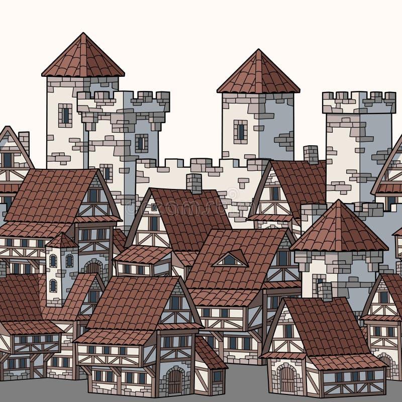 Illustrazione della citt? medievale Reticolo senza giunte di vettore illustrazione di stock