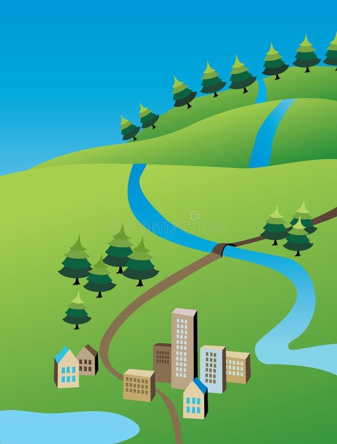 Illustrazione della cittadina di verde di estate illustrazione di stock