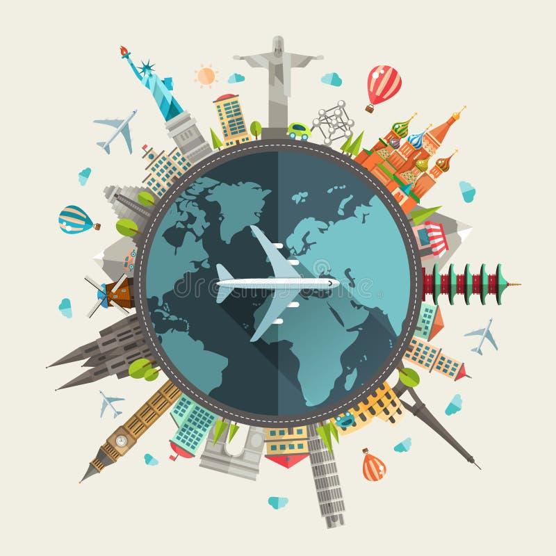 Illustrazione della composizione piana di viaggio di progettazione immagini stock libere da diritti