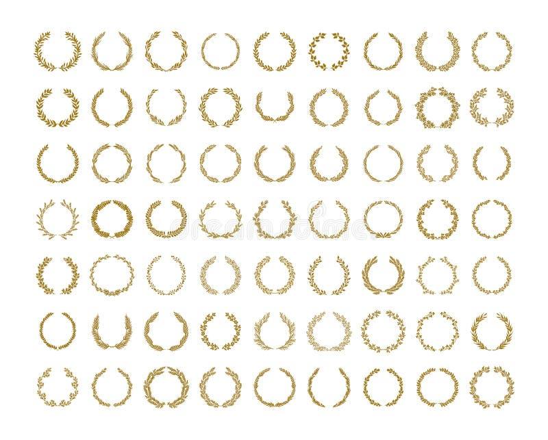 Illustrazione della corona del fogliame dell'alloro dell'oro messa su fondo bianco royalty illustrazione gratis