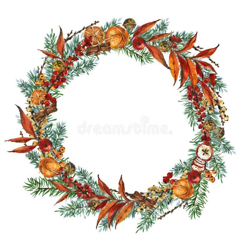 Illustrazione della corona di Natale fondo decorativo di vacanze invernali per i saluti illustrazione di stock