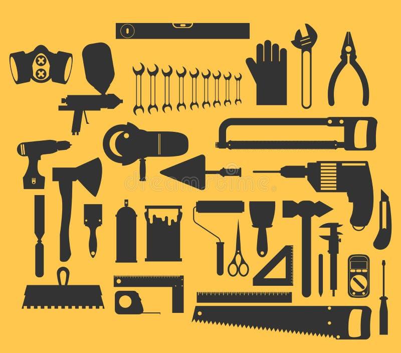 Illustrazione della costruzione e di riparazione con le icone degli attrezzi royalty illustrazione gratis