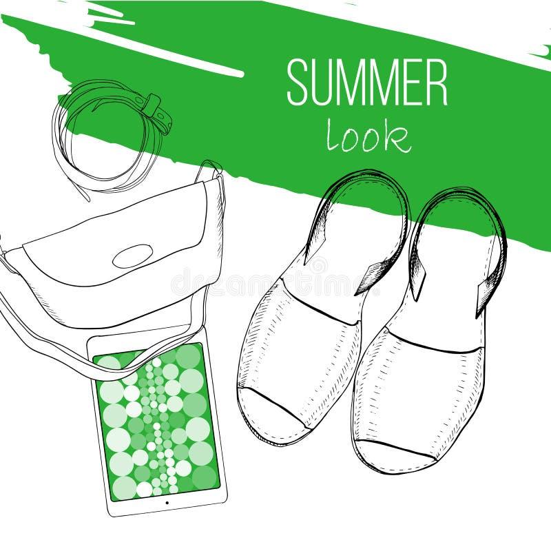 Illustrazione della disposizione piana di estate di modo con il sandalo, la borsa della donna, la cinghia e la compressa Disegno, royalty illustrazione gratis