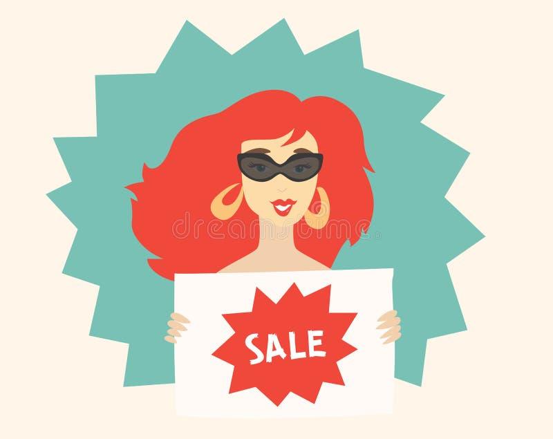 Illustrazione della donna che tiene una vendita del segno royalty illustrazione gratis
