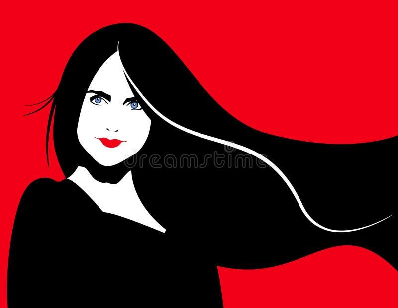 Illustrazione della donna del Brunette illustrazione vettoriale