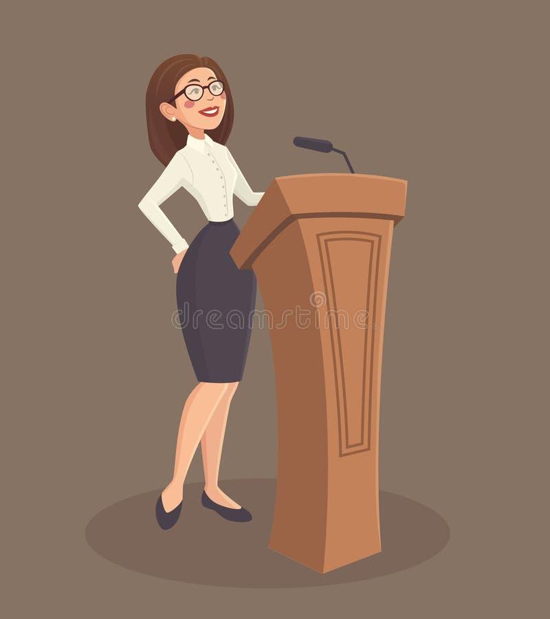 Illustrazione della donna dell'altoparlante illustrazione vettoriale