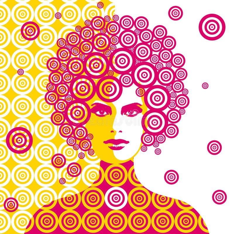 Illustrazione della donna di anni sessanta immagini stock libere da diritti