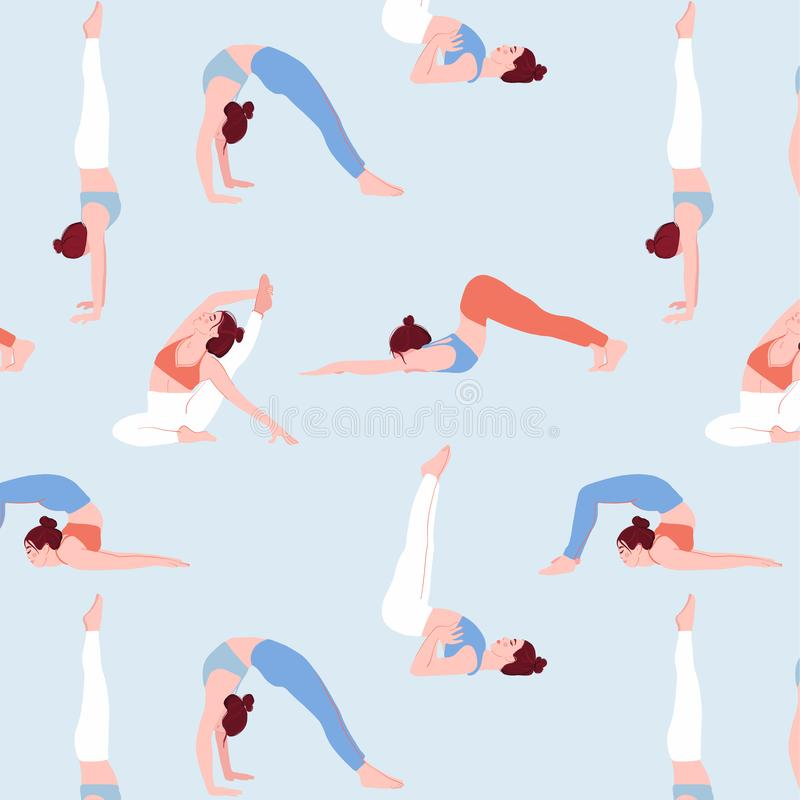 Illustrazione della donna di sport nel vettore Insieme piano delle ragazze dei personaggi dei cartoni animati che fanno yoga Mode royalty illustrazione gratis
