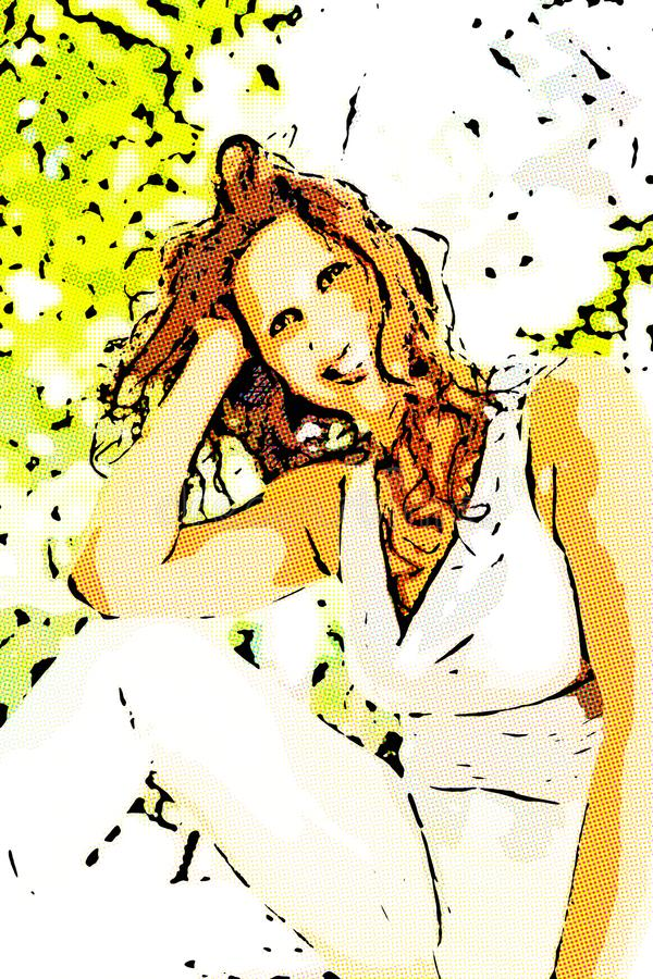 Illustrazione della donna in una posa di stile di bellezza fotografia stock