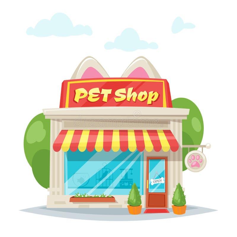 Illustrazione della facciata del negozio di animali illustrazione di stock