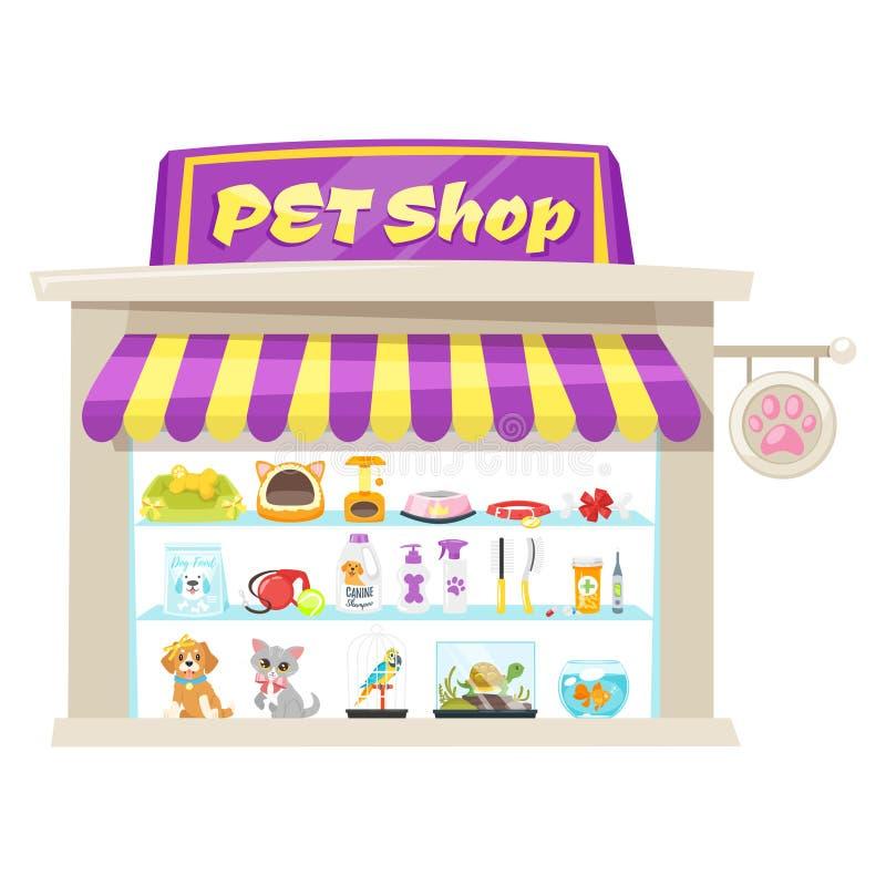Illustrazione della facciata del negozio di animali illustrazione vettoriale