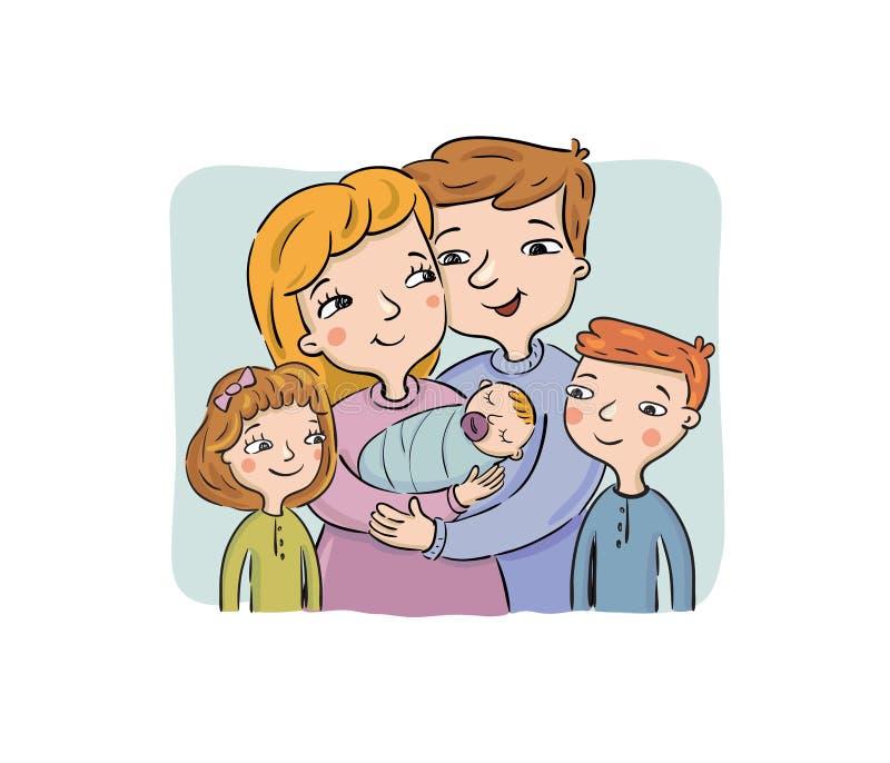 Illustrazione della famiglia felice con tre bambini illustrazione di stock