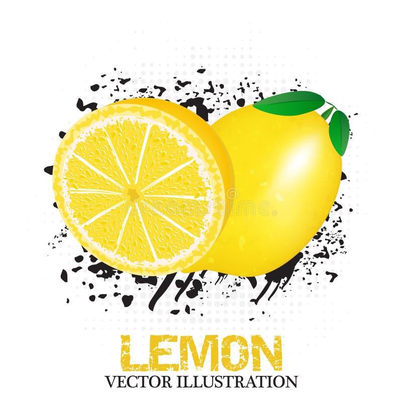 Illustrazione della frutta del limone con effetto del semitono e di lerciume illustrazione di stock