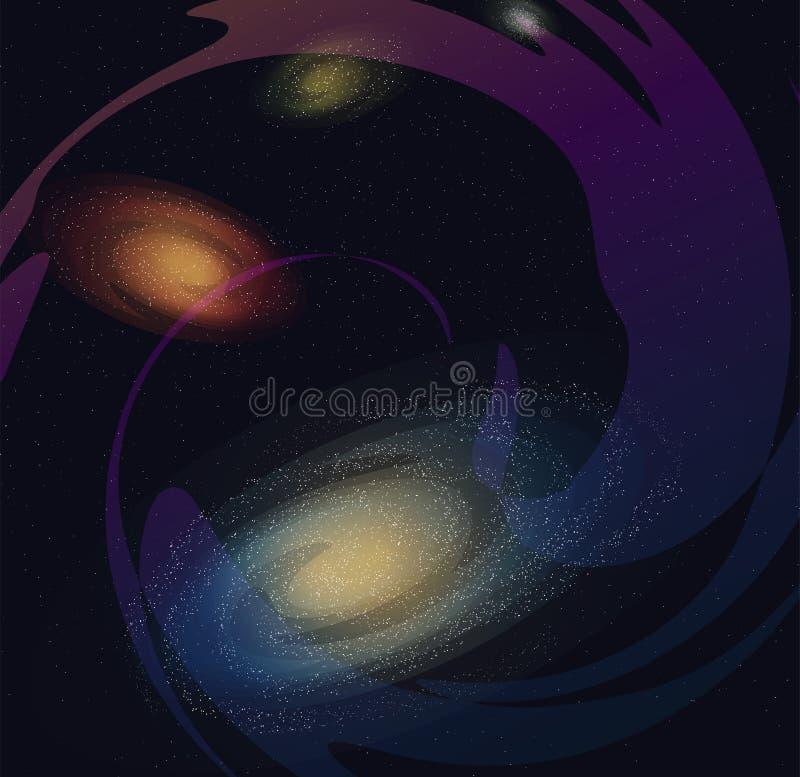 Illustrazione della galassia, Via Lattea nello spazio illustrazione di stock