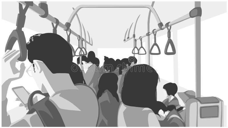 Illustrazione della gente che usando trasporto pubblico, bus, treno, metropolitana, sottopassaggio illustrazione di stock