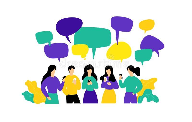 Illustrazione della gente con i telefoni Vettore Gli impiegati comunicano nei chat room via i messaggeri Stile piano Comunicazion illustrazione vettoriale