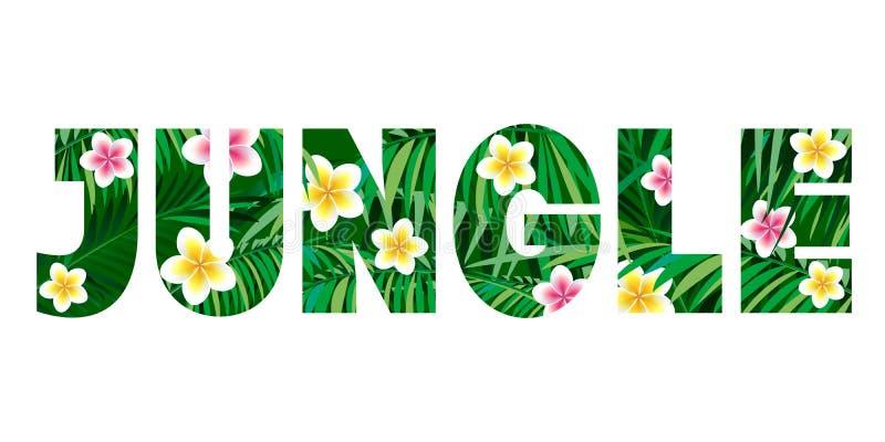 Illustrazione della giungla Stampa della maglietta Foglie di palma e fiori esotici su un fondo nero illustrazione di stock