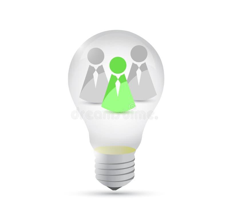 Illustrazione della lampadina di grande idea di lavoro di squadra illustrazione di stock