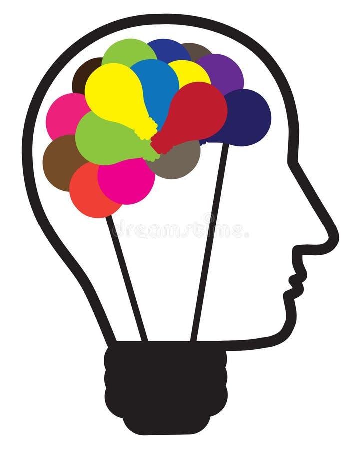 Illustrazione della lampadina di idea come testa umana illustrazione di stock
