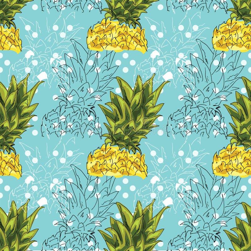 Illustrazione della mano Illustrazione dell'ananas su un fondo blu Reticolo senza giunte illustrazione di stock