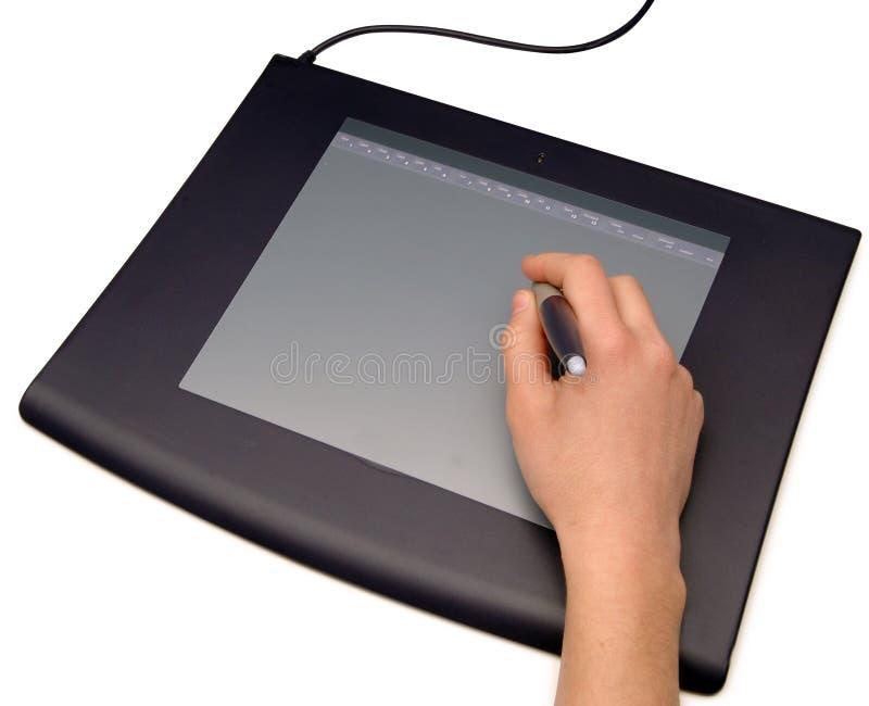 Illustrazione della mano su una tavola del grafico immagine stock