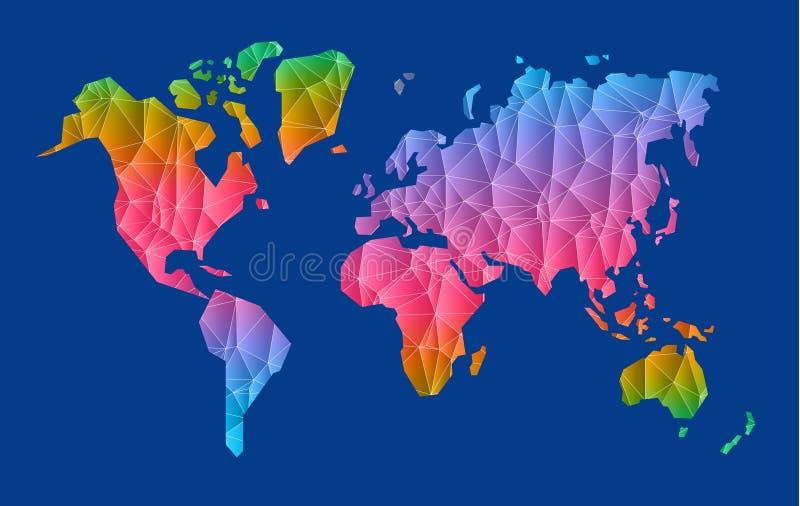 Illustrazione della mappa di mondo del poligono di vettore illustrazione vettoriale