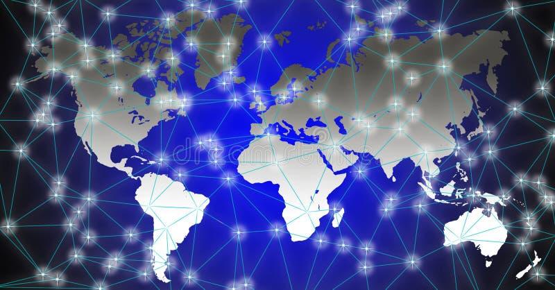 Illustrazione della mappa di mondo su fondo nero-blu immagini stock libere da diritti