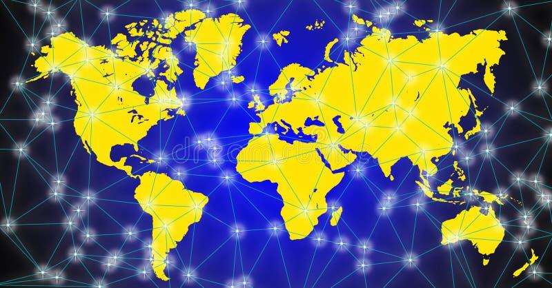 Illustrazione della mappa di mondo su fondo nero-blu immagini stock