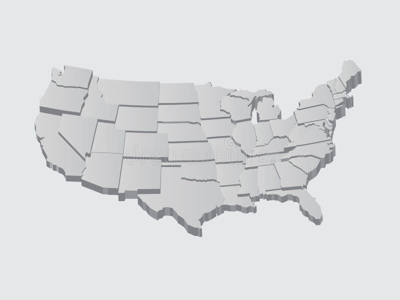 Illustrazione della mappa di vettore degli Stati Uniti 3D illustrazione vettoriale
