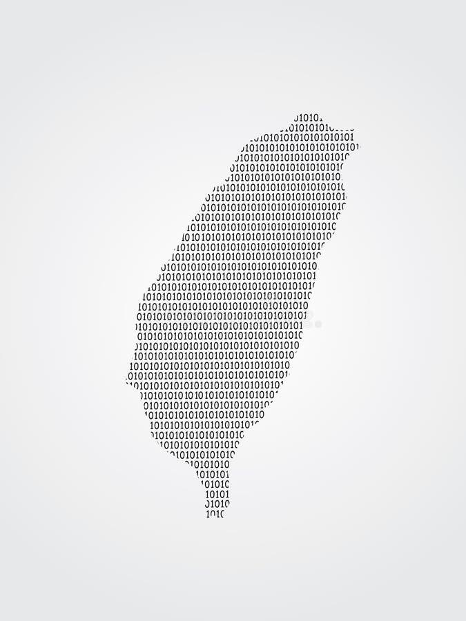 Illustrazione della mappa di vettore di Taiwan facendo uso dei codici binari su fondo bianco per significare avanzamento di tecno royalty illustrazione gratis