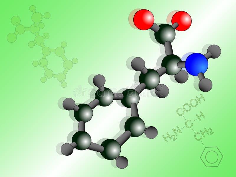 Illustrazione della molecola della fenilalanina royalty illustrazione gratis
