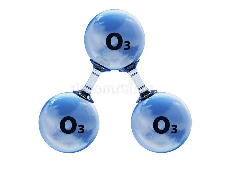 Illustrazione della molecola di modello dell'ozono illustrazione vettoriale