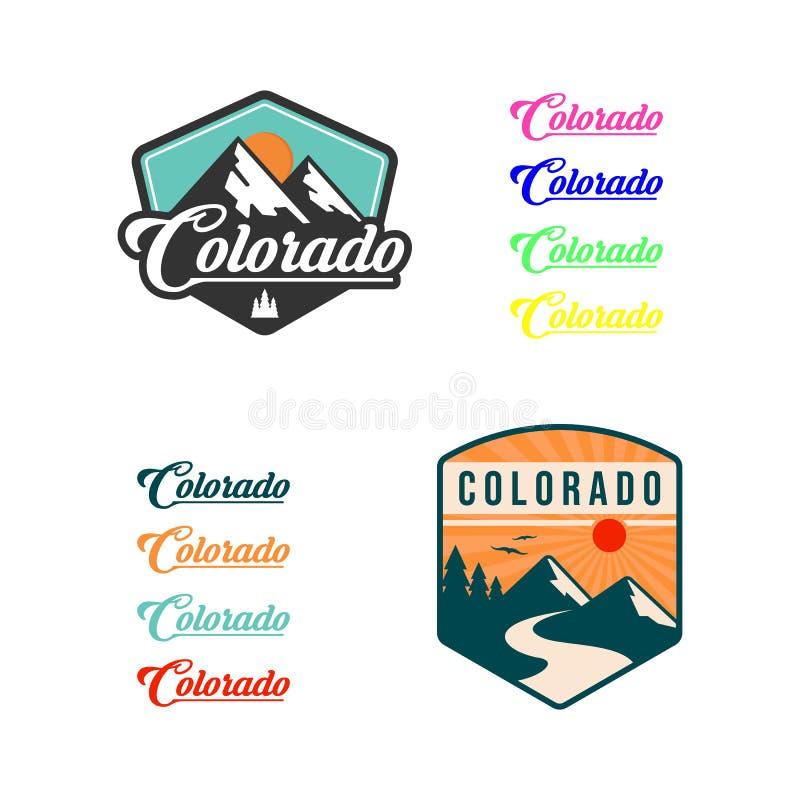 Illustrazione della montagna, avventura all'aperto Grafico di vettore per la maglietta ed altri usi Insieme di marchio illustrazione di stock