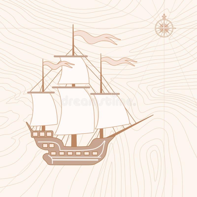 Illustrazione della nave di navigazione nel retro stile royalty illustrazione gratis