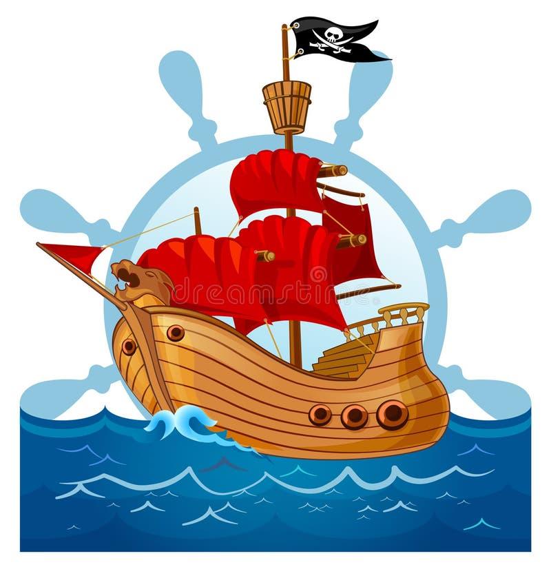 Illustrazione della nave di pirata fotografie stock