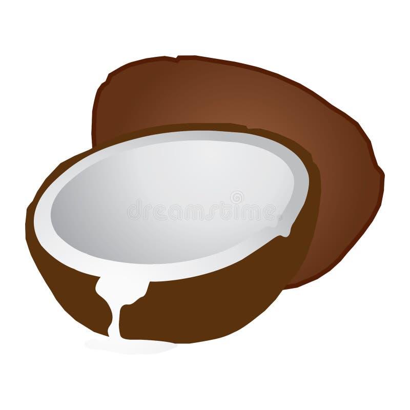 Illustrazione della noce di cocco Copra di produzione della noce di cocco, olio di cocco royalty illustrazione gratis