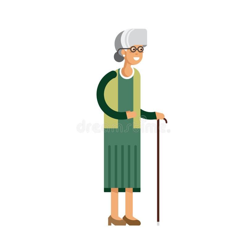 Illustrazione della nonna isolata su fondo bianco illustrazione di stock