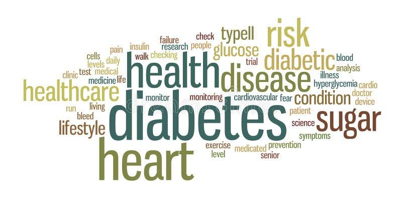 Illustrazione della nuvola dell'etichetta di parola del diabete illustrazione di stock